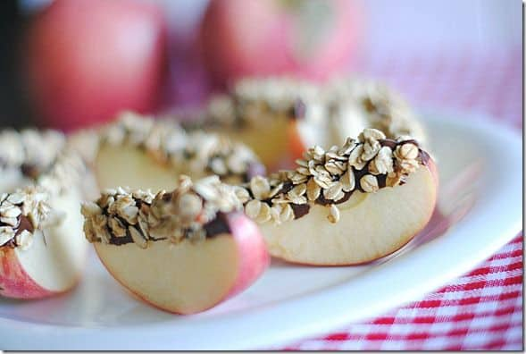 Chocolate & Granola Apple Wedges