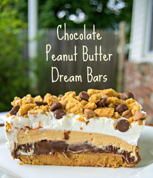 NO BAKE Chocolate Peanut Butter Dream Bars.