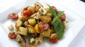 Chicken Panzanella - chicken, tomatoes, bread and a balsamic dressing make this great summer meal!