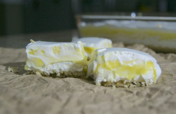 A deliciously creamy lemon filling sandwiched between a walnut layer and Cool Whip. A refreshing treat!