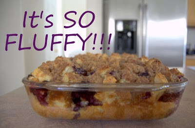 A deliciious blueberry filled French toast made the night before and baked the next morning.