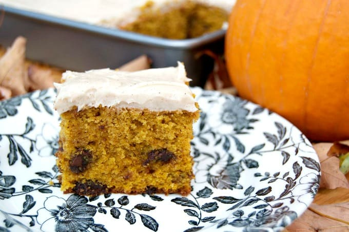 Pumpkin Chocolate Chunk Cake - chocolate and the great taste of Fall!