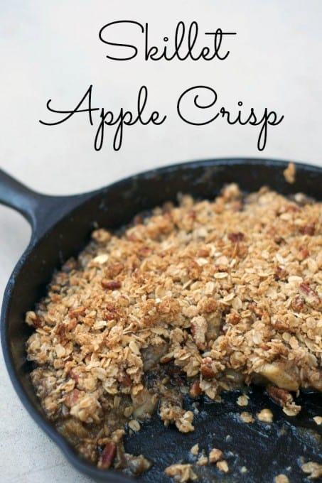 That all-time comfort food, Apple Crisp baked in a skillet.