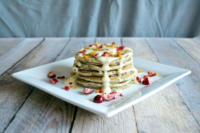 The perfect breakfast - Cranberry Pancakes with Orange Cream Cheese Frosting!