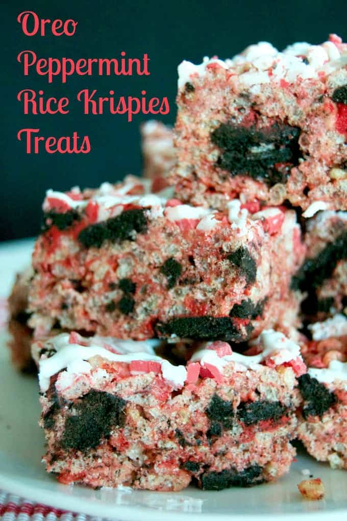 Rice Krispies Treats with Winter Oreos, peppermint, and Andes Peppermint Crunch! A tasty and colorful holiday treat!