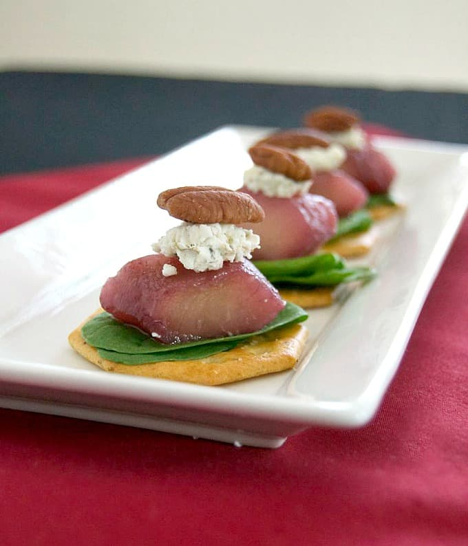 A great holiday appetizer - Merlot poached pears, arugula, and goat cheese. Flavor in every bite!