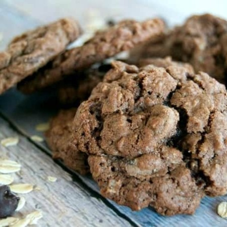Double Chocolate Oatmeal Cookiesare those old-time favorite oatmeal cookies made for chocolate lovers with the addition of cocoa and dark chocolate chips!