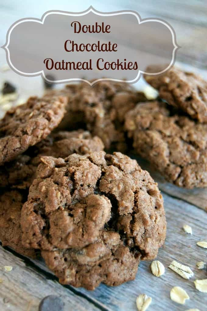 Double Chocolate Oatmeal Cookies are those old-time favorite oatmeal cookies made for chocolate lovers with the addition of cocoa and dark chocolate chips!