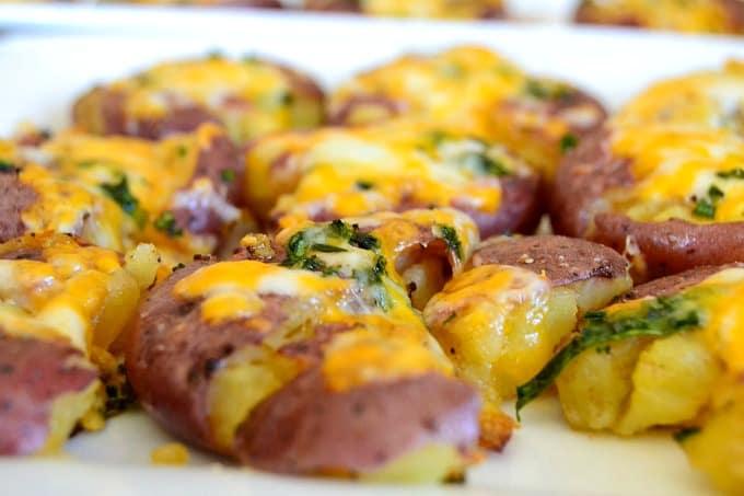 Smashed Roasted Cheesy Potatoes - roasted ruby gold potatoes smashed ...