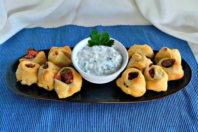 Turkey Gyro Pockets - bite size gyros with a creamy Tzatziki sauce , perfect as appetizers or a main course!