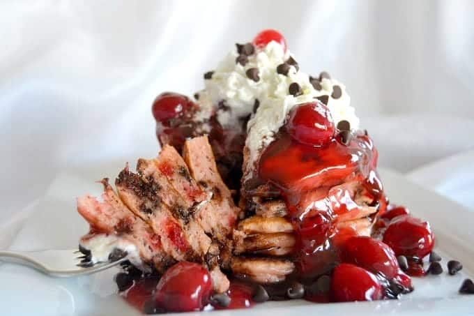 Buttermilk Pancakes with chocolate chips and diced Maraschino cherries - a delectable breakfast treat!