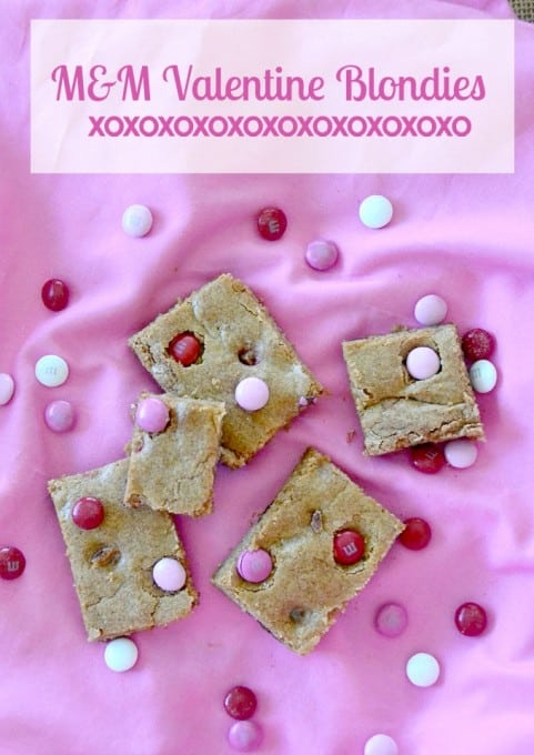 A quick and easy Valentine treat to put together - M&M Valentine Blondies!