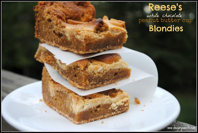 Peanut Butter Cup Blondies from Shugary Sweets