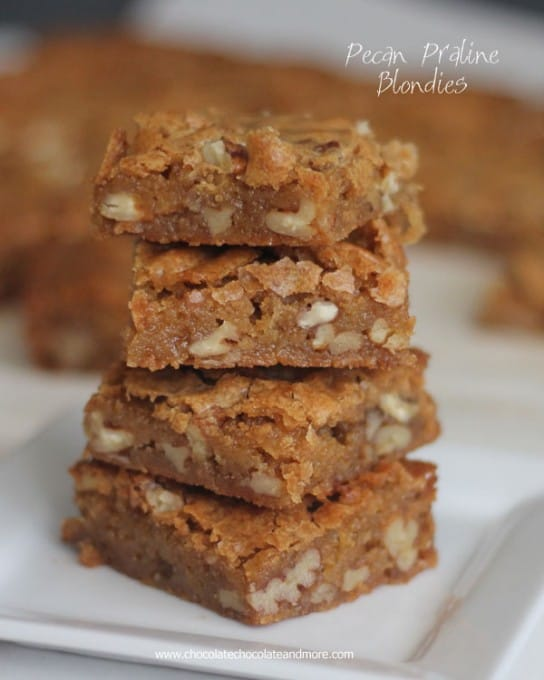 Pecan Praline Blondies from Chocolate, Chocolate and More