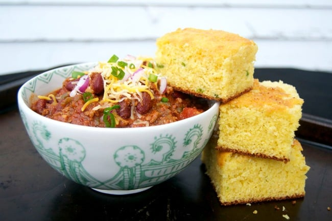 Two great comfort foods for a cold winter's day! Slow Cooker Chili and Jalapeño Corn Bread!