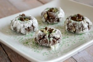 That wonderful Chocolate Crinkle Cookie filled with Andes mints!