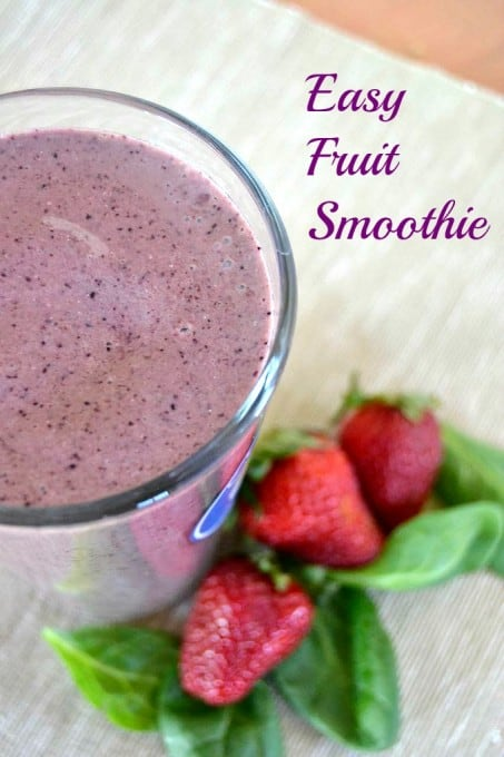 This Easy Fruit Smoothie made with blueberries, strawberries, Greek yogurt and chia seeds is the perfect nutritional energy boost before or after your walk!