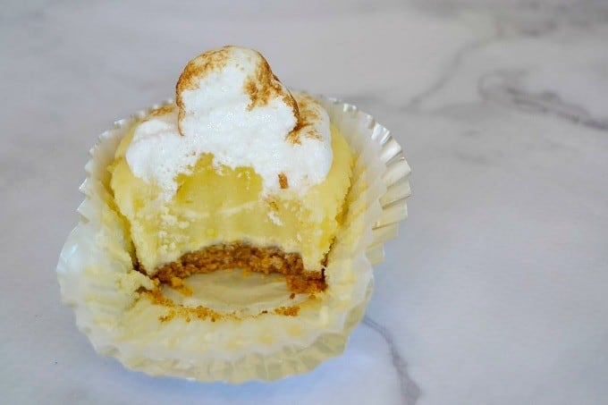 These Lemon Meringue Cheesecakes are a tasty combination of a cheesecake and lemon meringue pie for the perfect Springtime and Easter dessert!