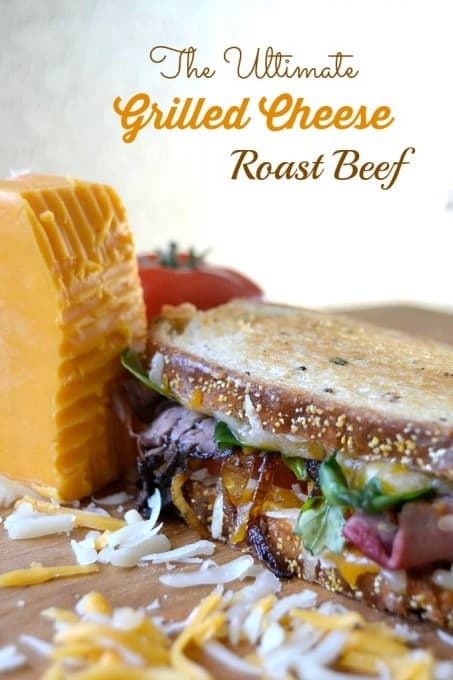 Layers of Wisconsin cheddar and gouda cheeses, caramelized onions, plum chutney and roast beef make up this incredible grilled cheese sandwich!