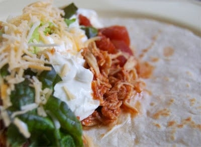Easy to make Crockpot Taco Chicken - great in tacos or in salads!