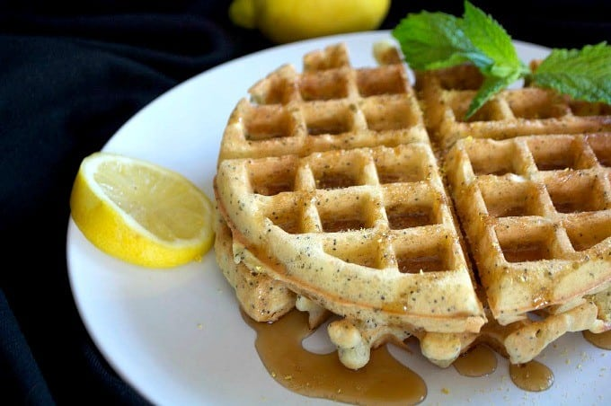 Lemon Poppy Seed Waffles - the perfect treat for a weekend breakfast or brunch and their dairy-free!
