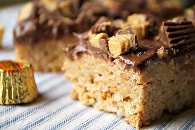 Your favorite Rice Krispies Treats made better with peanut butter, and Reese's!