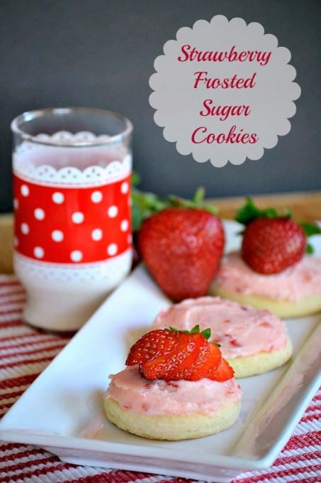 Soft Sugar Cookies frosted with a fresh strawberry buttercream. - perfect for summer!