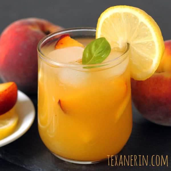 Honey Sweetened Fresh Peach Lemonade
