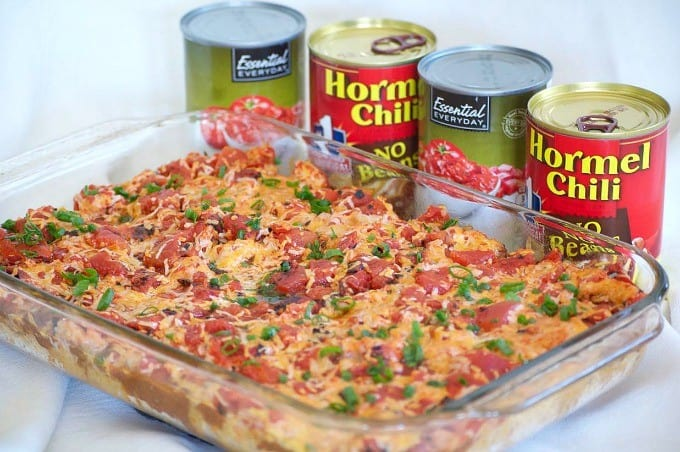 Stock your pantry with canned goods and make this Chili Casserole for dinner in just 20 minutes!
