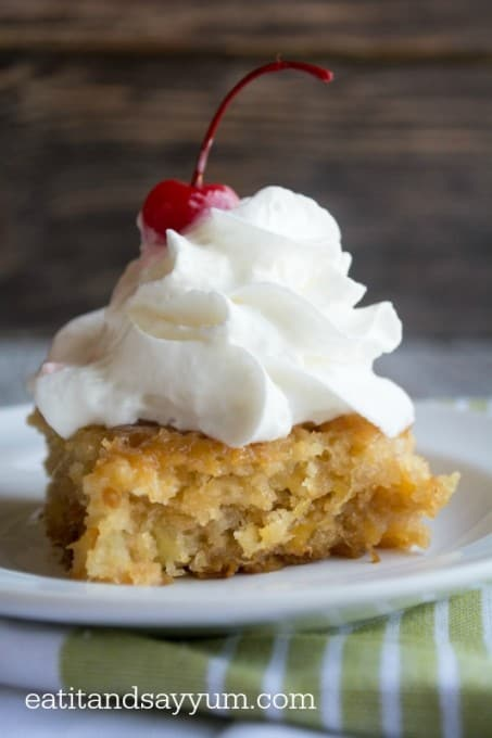 Pineapple Soak Cake with whipped cream