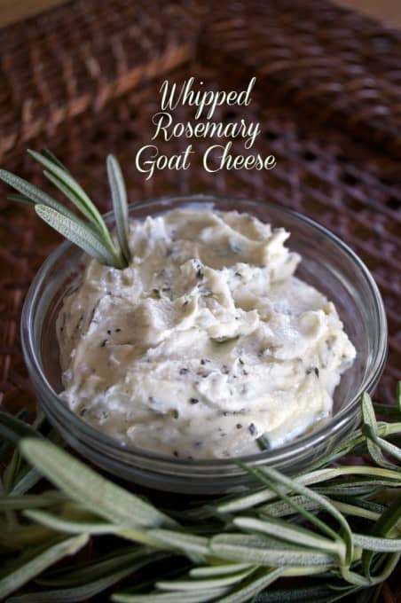 Lightly sweetened with honey, this Whipped Rosemary Goat Cheese is great on crackers, sandwiches or in salads!