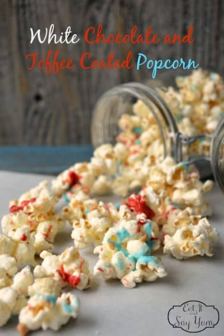 White chocolate and toffee coated popcorn for July 4th