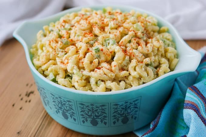 A bowl filled with pasta salad.