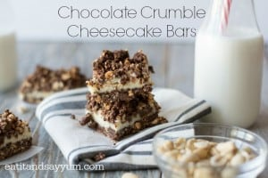Chocolate Crumble Cheesecake Bars are a delicious dessert with lots of chocolate flavor and added crunch from peanuts and graham crackers.