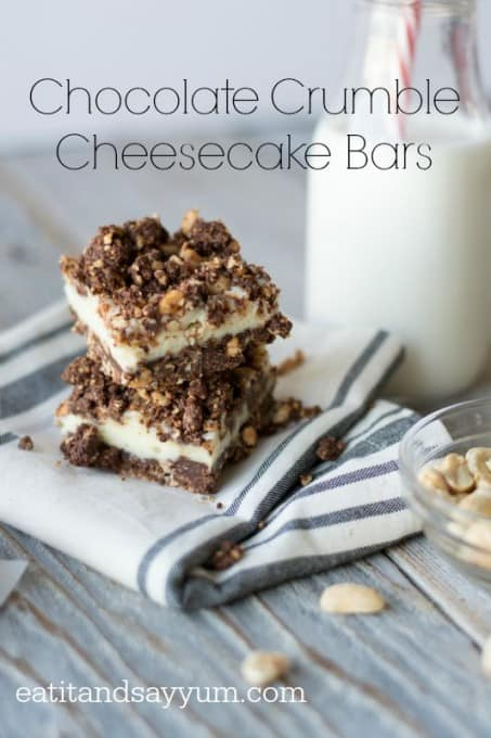 Chocolate Crumble Cheesecake Bars recipe- rich and creamy cheesecake between two layers of crunchy chocolate crusts