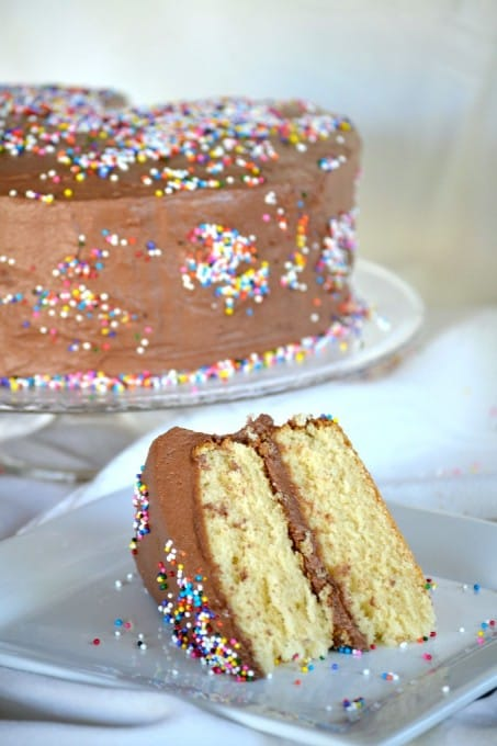 Yellow cake frosted with chocolate buttercream ~ simple, yet delicious.