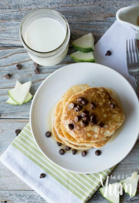 Zucchini Pancakes recipe- with chocolate chips and syrup