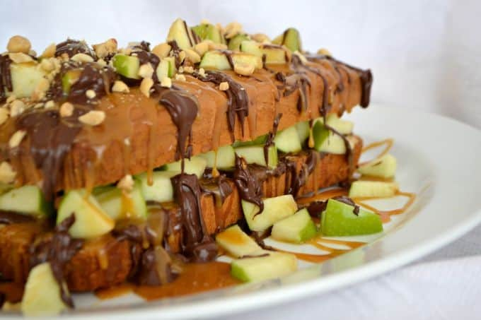A Sara Lee pound cake, chopped Granny Smith apple, salted caramel, melted chocolate and peanuts make this an easy and delicious dessert.