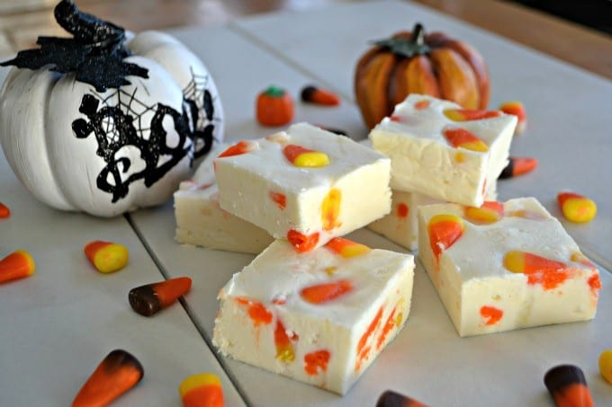 Creamy white chocolate fudge with the taste of Fall. It's candy corn!!