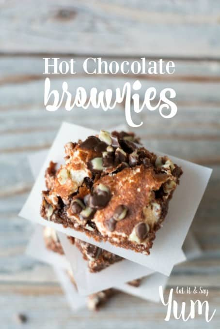 Hot Chocolate Brownies, with chocolate mint pieces and marshmallow creme