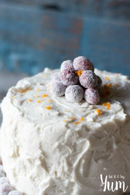 Orange Spice Cake- with tart cranberry-raspberry filling and vanilla bean frosting