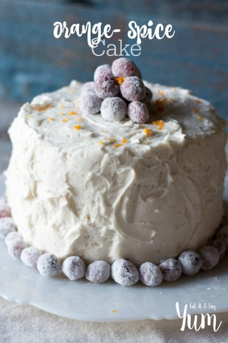 Orange Spice Cake- with vanilla bean frosting and a tart cran-raspberry filling