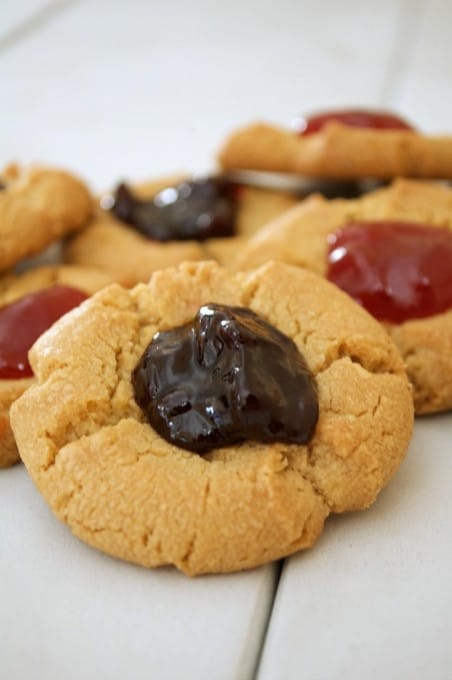 A simple peanut butter cookie indented in the middle and filled with strawberry preserves. It's a peanut butter and jelly sandwich in cookie form