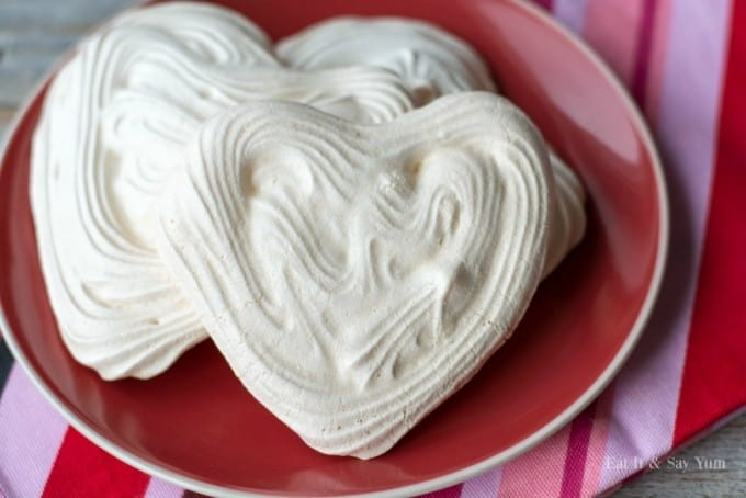 Heart Meringues with Berries and Cream- only three ingredients to make these pretty meringues