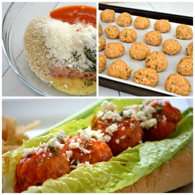 These Buffalo Chicken Meatballs made with ground chicken, buffalo sauce and Panko bread crumbs are perfect as a Game Day appetizer or in a roll topped with your choice of blue cheese or ranch dressing!