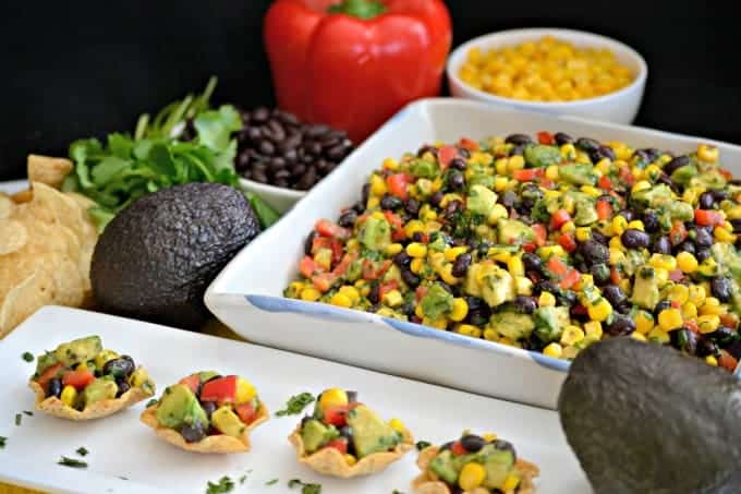 Galaxy Salsa - an Avocado From Mexico, black beans, corn, red pepper, and more make this great Game Day Salsa that your party goers will go nuts for!