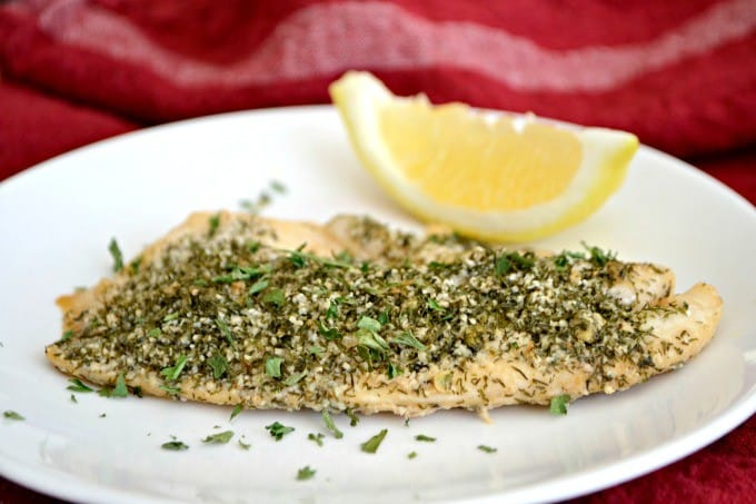 This Steamed Lemon Herb Tilapia is seasoned with fresh lemon, dill, garlic powder and other spices then steamed in the oven in a tin foil packet.