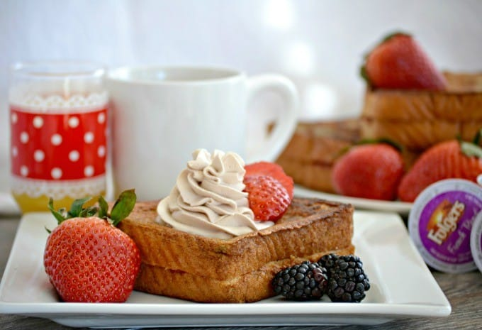 This Strawberry Stuffed Mocha French Toast is Texas toast stuffed with cream cheese and strawberries then dipped in a mocha batter made with Folgers French Roast coffee.