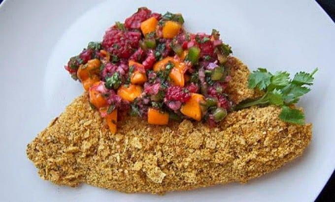 Tacoed Tilapia with Raspberry Mango Salsa