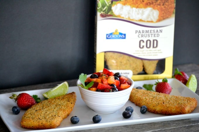 Gorton's Parmesan crusted Cod accompanied by a fresh strawberry, blueberry and mango salsa - a delicious and easy dinner that's ready in under 30 minutes!
